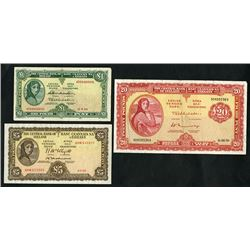 Central Bank of Ireland. 1954-70 Issues. Trio of Banknotes, ca. 1940-50's.