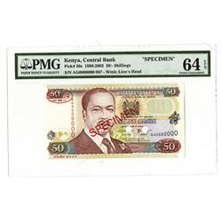 Central Bank of Kenya, 1996-2002, Specimen Banknote