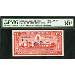 Banque Nationale Du Laos, ND (1957) Specimen Banknote.