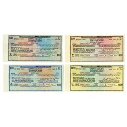 Bank of Libya, c. 1970s, Quartet of Traveler's Cheque Specimens