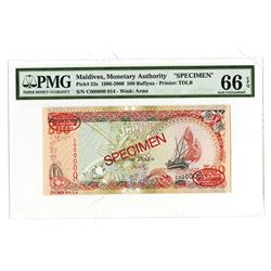 Maldives Monetary Authority, 1996-2000, Specimen Banknote