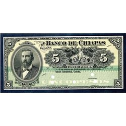 Banco De Chiapas, ND (1902) Proof Banknote Face.