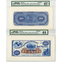 Banco de Londres Mexico y Sud America Proof Front and Back Proofs. (ca. 1874-81).