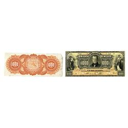 Banco Oriental de Mexico, 1901-1914, Pair of Proof Banknotes