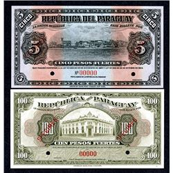 Republica del Paraguay, 1920-1923, Pair of Specimen Notes