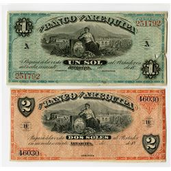 Banco de Arequipa. 1870s Issue. Pair of Banknotes.