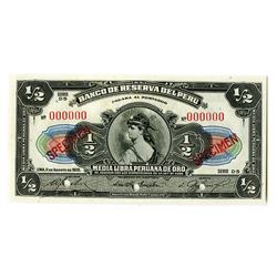 "Banco De Reserva Del Peru, 1926 ""Unissued"" Specimen Only Issue Banknote."