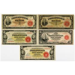 Treasury of the Philippines, 1936-1937 Issue, Group of 5 Issued Banknotes