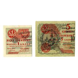 Ministerstwo Skarbu (Ministry of Finance), 1924, Provisional Bilet Zdawkowy Issue Pair