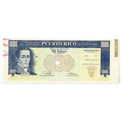 Estado Libre Asociado de Puerto Rico Savings Bond Specimen. 1973-76.