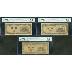 Bank of Korea, (4286) 1953 Issue Banknote Trio.
