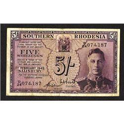 Southern Rhodesia Currency Board. 1945 Issue.