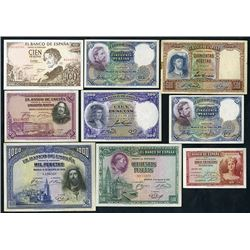 Banco de Espana. 1928-65 Issuess. Group of 9 Notes.