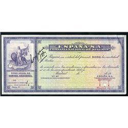 Espana-S.A., Compania Nacional De Seguros, 19xx (ca.1900-1910) Unique Approval Specimen Bond.