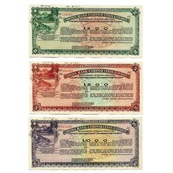 Swiss Bank Corporation London, 1927, Trio of Traveler's Cheque Cancelled Specimens