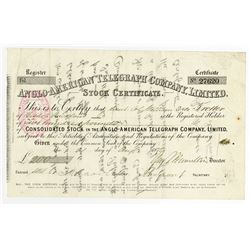 Anglo-American Telegraph Company, Ltd., 1875 Issued Stock Certificate.