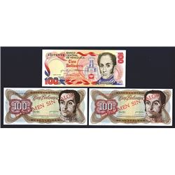 Banco Central De Venezuela Specimen and Issued Trio.