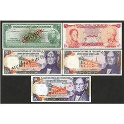 Banco Central de Venezuela, 1960-1972, Pair of Specimen Notes