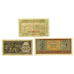 Narodna Banka and other issuers, 1919-1953, Trio of Issued Notes