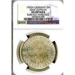 Weimar Republic. 1930A 5 Reichsmark. Zeppelin.