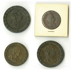 Great Britain: 1723-1797, Quartet Copper Coins
