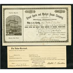 Grand Opera and Market House Co., 1926 Issued Stock Certificate.