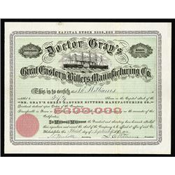 Doctor Gray's Great Eastern Bitters Manufacturing Co., 1880 Stock Certificate.