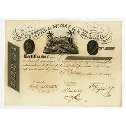 Sociedad de Minas de La Habana, 1847 Share Certificate.