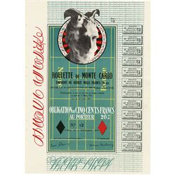 Roulette de Monte Carlo, 1938 reprint of 1924 issued bond by Marcel Duchamp.
