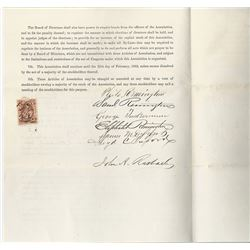 Remington Arms Articles of Association, 1863 with Autographs and Correspondence.