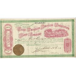Great European American Emigration Land Co, 1868 Stock Certificate.