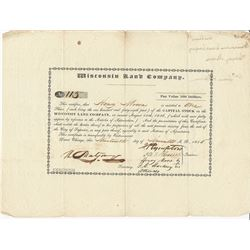 Wisconsin Land Company, 1836 Stock Certificate.