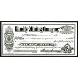 Handly Mining Company Issued Shares. 1878, Bodie Mining District.