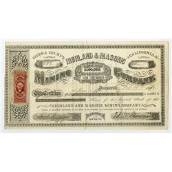 Highland & Masonic Mining Co., 1872 Stock Certificate.