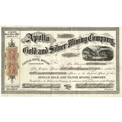 Apollo Gold and Silver Mining Co., 1863 Stock Certificate.