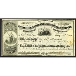 Gold Hill & Virginia Divide Mining Co., 1863 Nevada Territory Stock.