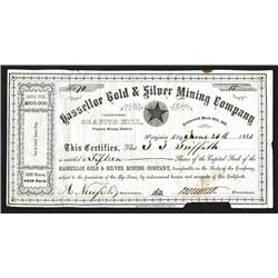 Hasselloe Gold and Silver Mining Co., 1863 Stock Certificate.