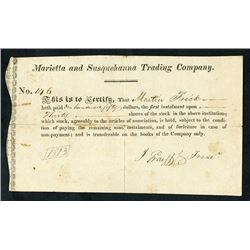 Marietta and Susquehanna Trading Company ca.1813 Issue Stock Certificate