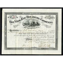 Vigo Bay Treasure Company of Camden, NJ, 1886 Stock Certificate.