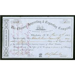 Blockade Runners: Chicora Importing & Exporting Company of South Carolina, 1863 Issued Stock Certifi