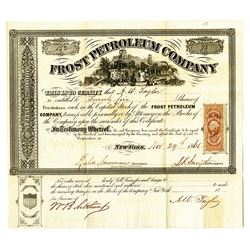 Frost Petroleum Co., 1865 Issued Stock Certificate.