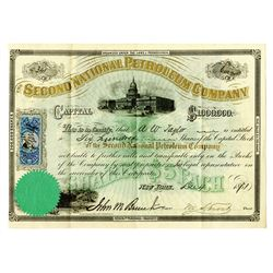 Second National Petroleum Co., 1871 Issued Stock Certificate.