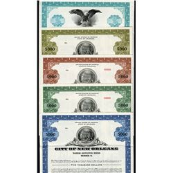 City of New Orleans and Louisiana Specimen Bond Quintet, ca. 1964 to 1982.