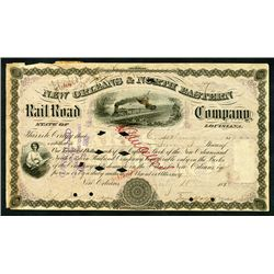 New Orleans & North Eastern Rail Road Co., 1880 Issued Stock Certificate.