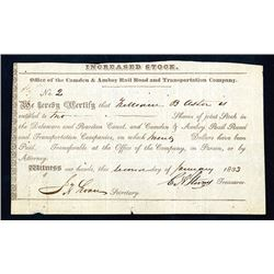 Delaware and Raritan Canal and Camden & Amboy Rail Road and Transportation Co., 1833 Issued Stock Ce