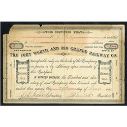 Fort Worth and Rio Grande Railway Co., 1881 Stock Certificate.
