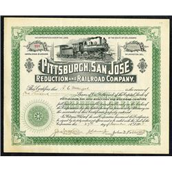 Pittsburgh, San Jose Reduction and Railroad C., 1905 Stock Certificate.
