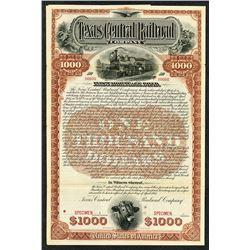 Texas Central Railroad Company Specimen Bond