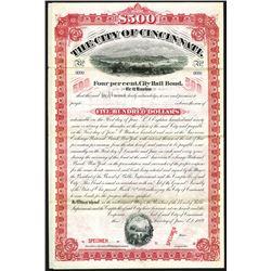 City of Cincinnati. 1889. Specimen Bond.