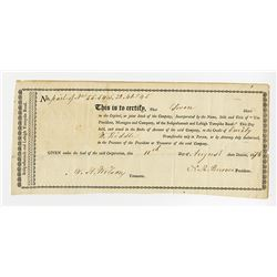 Susquehannah and Lehigh Turnpike Road, 1816 Stock Certificate.